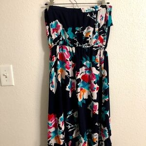High-Low Strapless Floral Dress
